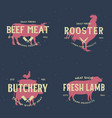 set butcher shop and butchery hand written vector image vector image