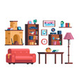 set living room interior furniture collection vector image vector image