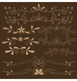 set of brown floral design elements vector image vector image
