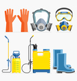 Set of pesticide tool Gas mask and sprayer vector image