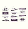 set vintage barber shop emblems vector image