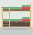 Side View Of Bunk Bed On Floor vector image vector image