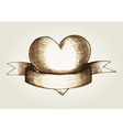 Sketch of a heart emblem vector image vector image