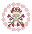 skull in a wreath magnolia with a frame vector image vector image
