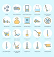 Snow removal colored flat line icons ice vector image