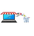 store shop on notebook screen display vector image vector image