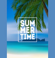 summer tropical background with palms sea and vector image vector image