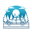 suv sport vehicle in the forest vector image vector image