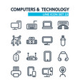 technology lined icons set vector image