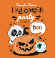 time for scares halloween party poster vector image