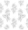 wild tulip flowers stem leaves seamless pattern vector image