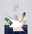 woman is taking a bath relaxation vector image vector image