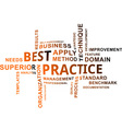 word cloud best practice vector image vector image