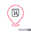 14 february valentine day pin map icon vector image