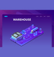 3d isometric site - warehouse with tracking vector image vector image