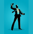 a businessman breaking chains vector image