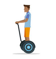 a man riding a hover board balanced scooter vector image vector image