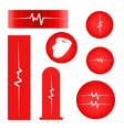 A Set of Cardiogram on Red Banner vector image vector image