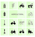agricultural icons vector image vector image