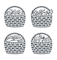 baskets with sausages fruit vegetables and baker vector image