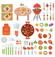 bbq food and cooking utensils vector image vector image