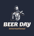 bearded barmen with a shaker to international vector image