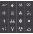 black danger icons set vector image vector image