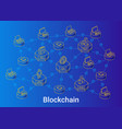 blockchain isometric linear blue vector image