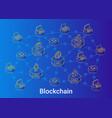blockchain isometric linear blue vector image vector image
