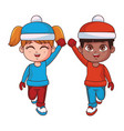 boy and girl with winter clothes vector image