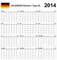 Calendar 2014 German Type 22 vector image vector image
