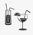cocktail in glass icons vector image vector image