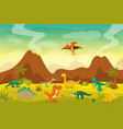 cute and funny flat dinosaurs - t-rex vector image
