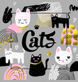 cute cats hand drawn design childish background vector image