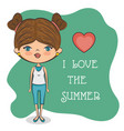 cute girl loves summer vector image