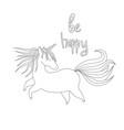cute handdrawn unicorn vector image vector image