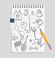 doodle sport elements on realistic notebook vector image vector image