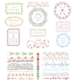 Doodles Hand drawn line border with logo set vector image