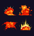 fire blasts explosion bursts flame and smoke vector image
