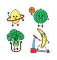 flat sketch fruits vegetables doing sport vector image vector image