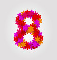 floral numbers colorful flowers number 8 vector image vector image