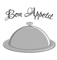 Grey tray with text bon appetit vector image vector image