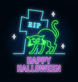 halloween neon sign or emblem vector image vector image