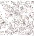 hand drawn line beige roses flowers vector image vector image