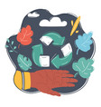 hand holding green recycle icon vector image