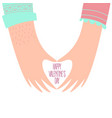 hands of a loving couple shaping a heart vector image vector image