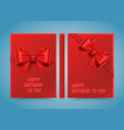happy birthday to you bow on red paper vector image vector image