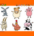 happy farm animal cartoon characters set vector image vector image