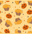 happy halloween cupcakes with cute halloween vector image vector image