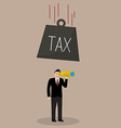 Heavy tax falling to careless businessman vector image vector image